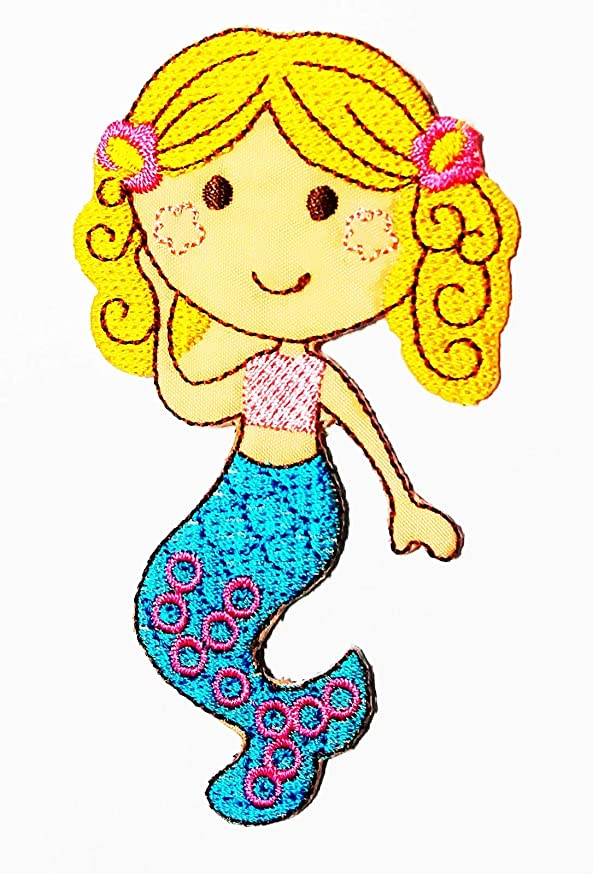 Little Mermaid with a Blue Tail Cartoon Princess of The Ocean Mermaid 2.25X4 in MEGADEE Patch Cartoon Kids Symbol DIY Iron on Patch Iron-On Designer Patch Used for Gifts Crafts Jeans Clothing Fabric