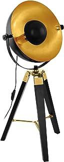EGLO Lámpara de mesa Covaleda, 1 lámpara de mesa industrial vintage, lámpara de noche de madera y acero, lámpara de salón en negro, dorado y latón, lámpara con interruptor, casquillo E27