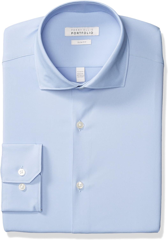 Perry Ellis Men's Slim Fit Spread Collar Performance Dress Shirt