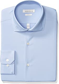 Perry Ellis Men's Slim Fit Spread Collar Performance Dress Shirt