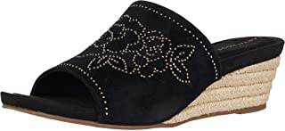 Taryn Rose Women's Slip on Espadrille Wedge Sandal, Black, 6