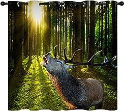 Elk Gordijn, wild dier bos natuurlijke landschap Geïsoleerd Gordijn Home Versier Raamgordijnen 2 panel set W 52 L 84