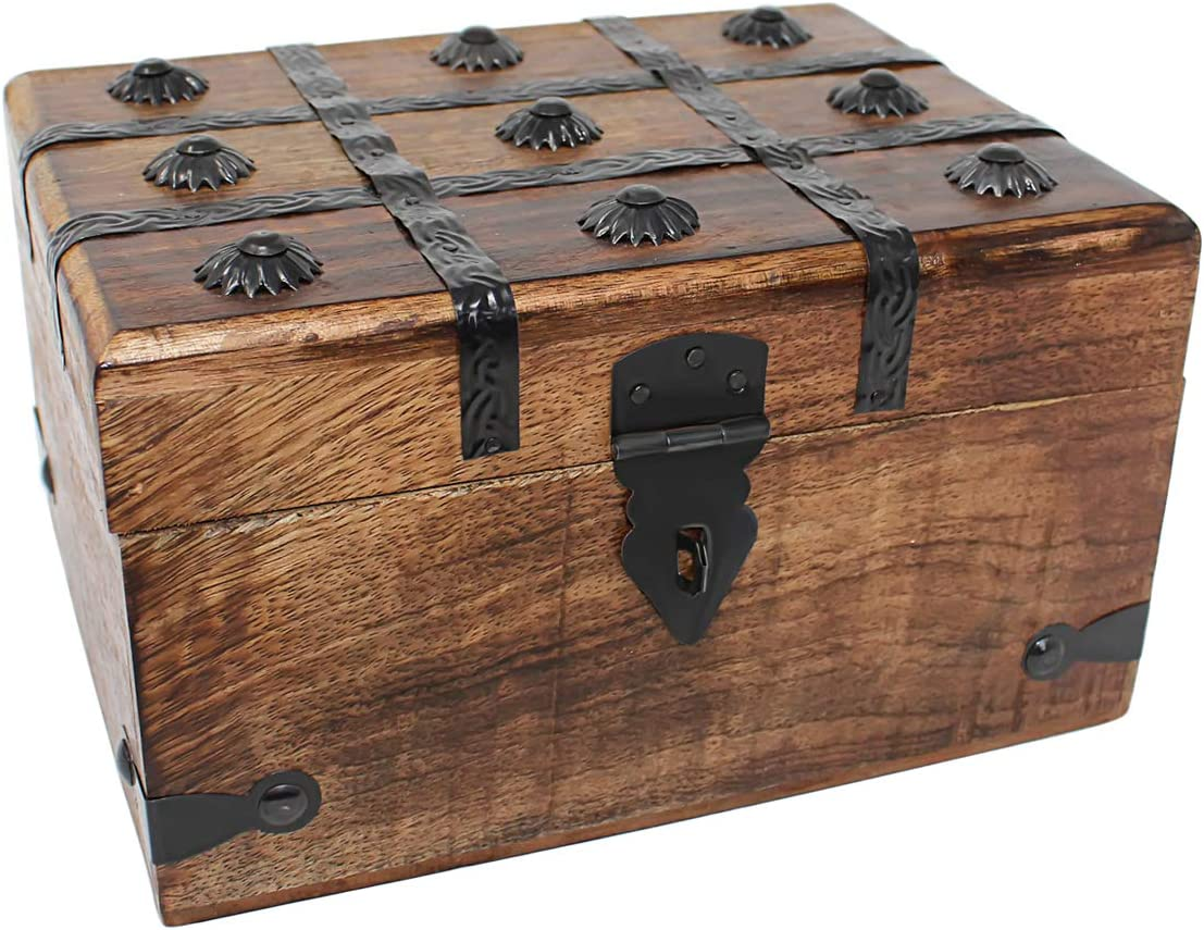 Cheap mail order specialty store Nautical Cove Wooden Treasure Chest Box Large Spasm price Keepsake