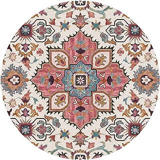 Vintage Flowers Rustic Round Rugs Bohemian Carpet Floor Mat Large for Living Room Bedroom Sofa Hallway (150cm Diameter)