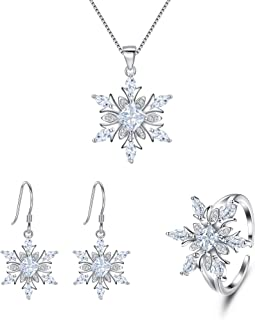 EVER FAITH Women's Jewelry 925 Sterling Silver Cubic Zirconia Elegant Winter Snowflake Party Necklace Earrings Ring Set