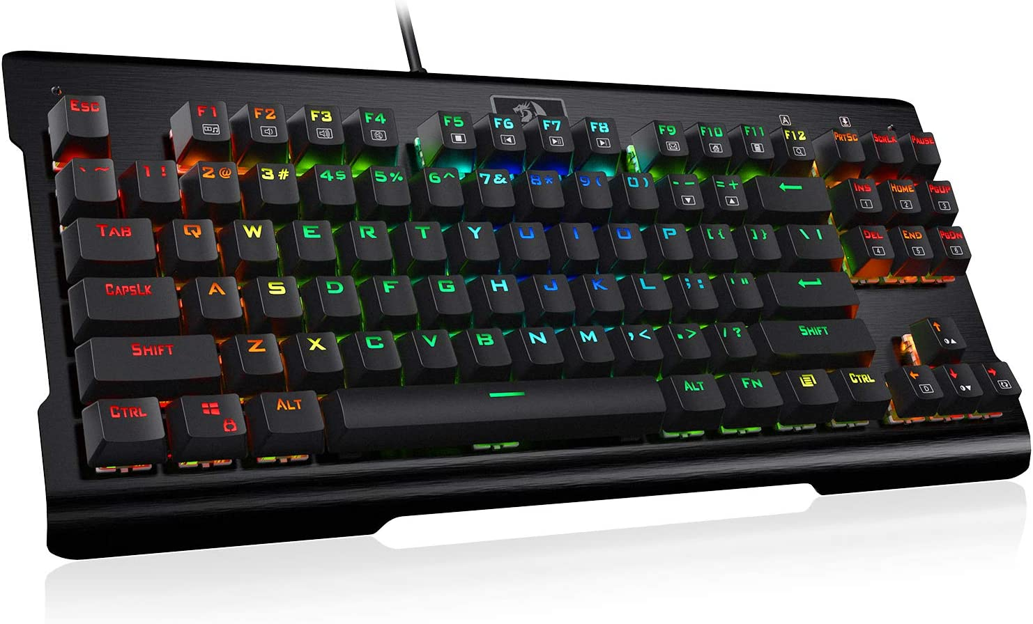 Redragon K561 VISNU Mechanical Gaming Keyboard, Anti-ghosting 87 Keys, RGB Backlit, Wired Compact Keyboard with Clicky Blue Switches for Laptop, Windows, PC Games