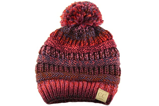 273b488caa2 Kids Ages 2-7 Pompom Chunky Thick Stretchy Knit Slouch Beanie Cap Hat