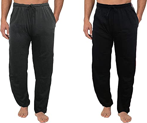 Regular Fit Cotton Casual Black and Grey Pyjamas Lower Leisure Night Wear Bottoms Trackpant for Mens Combo of 2