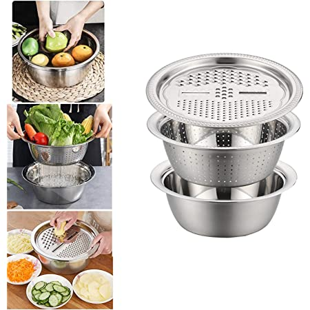 Salad Maker Bowl Kitchen Graters Cheese Grater With Drain Basin For Vegetable 3 In 1 Kitchen Multipurpose Julienne Grater 3PCS//Set Stainless Steel Drain Basket Vegetable Cutter Kitchen Grater Set