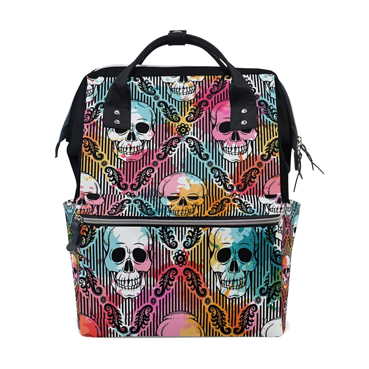 Punk Gothic Skull Head School Backpack Large Capacity Mummy Bags Laptop Handbag Casual Travel Rucksack Satchel For Women Men Adult Teen Children