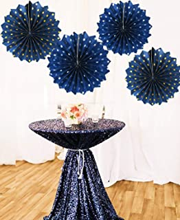 Navy Gold Prince Baby Shower Decorations Polka Dot Navy Gold Silver Paper Fans for Navy Gold Wedding/Bridal Shower Decor/Boy First Birthday Decorations (Navy Silver Gold)