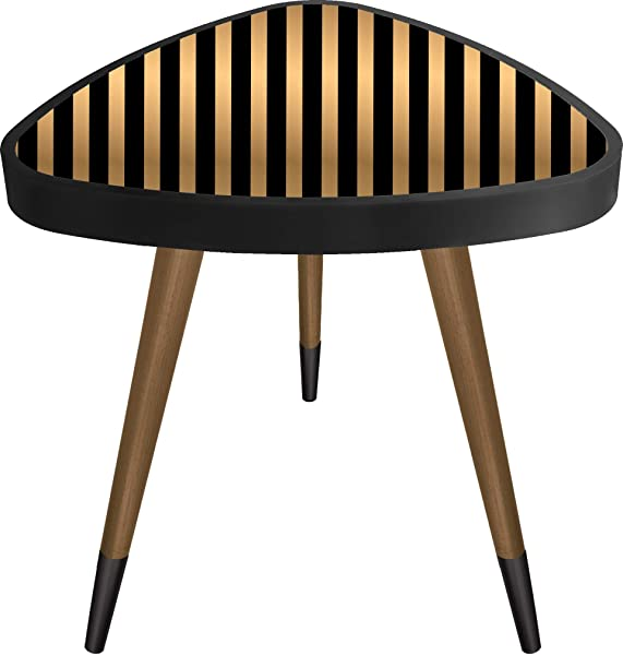 Casaculina Striped Triangle Vintage Side Table Retro End Table Mid Century Modern Design Wooden Coffee Table Cocktail Table For Living Room Bedroom Or Home Office