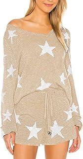 Fixmatti Women 2 Piece Knit Sweater Star Shorts Set Loungewear Sweatsuits