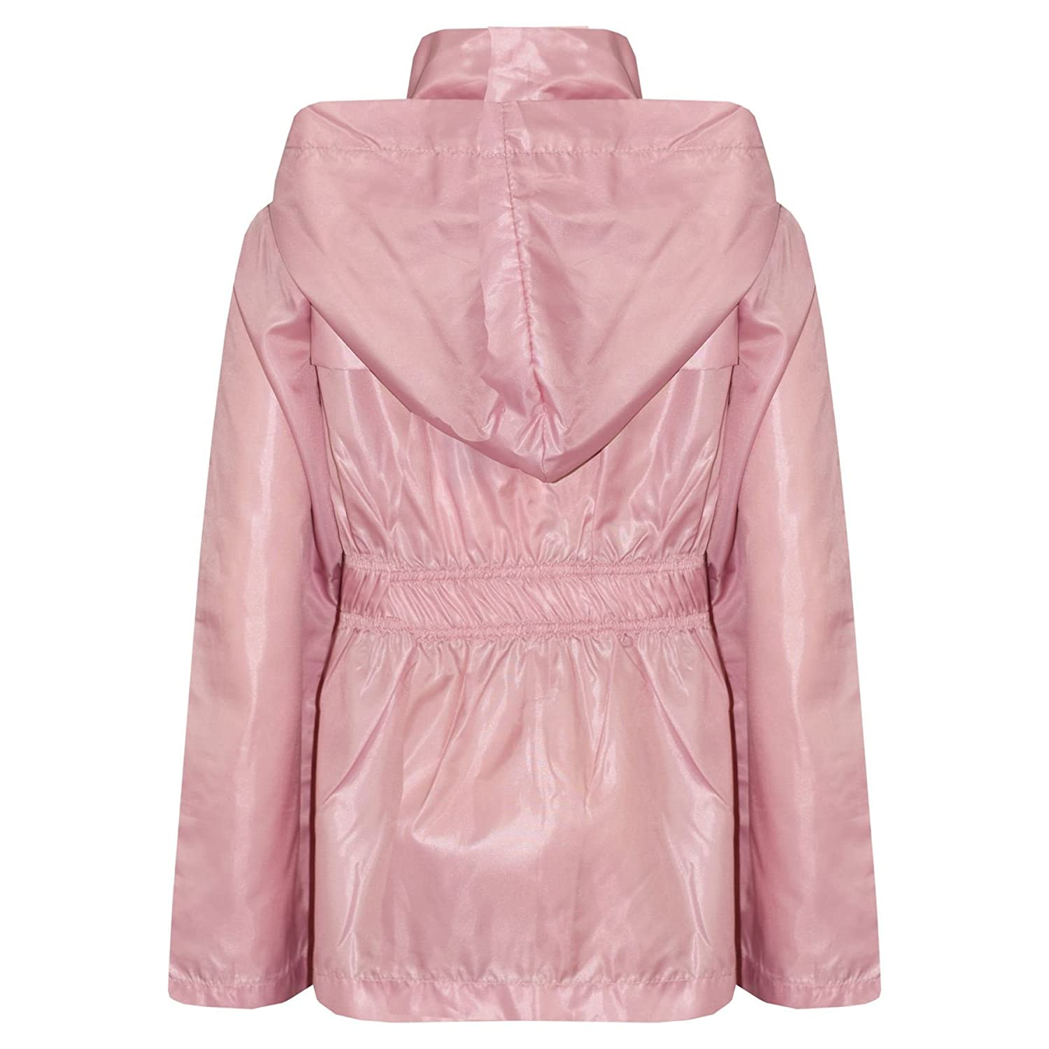 Laus Girls Waterproof Jacket Hooded Pink Rain Mac Coats with Backpack Position