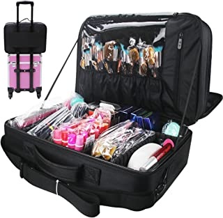 Relavel Makeup Train Case Travel Makeup Bag Cosmetic Organizer Extra Large Capacity Makeup Case with Adjustable Shoulder Strap and Mirror (Extra Large Black)