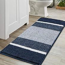 Super Cozy Shag Chenille Bath Rug, Gradient Navy Stripe Pattern Machine Washable Microfiber Plush Bathmat, Ultra Absorbent...