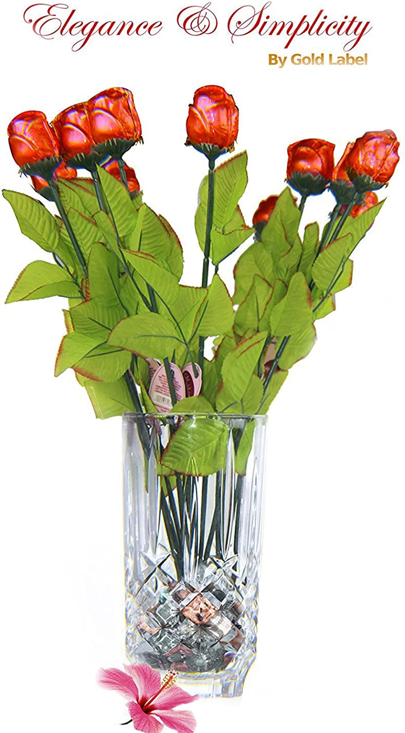 Marquis by Waterford Markham 9in Vase with One Dozen 12 Inch Red Milk Chocolate pink Stems and 7 oz Chocolate Rocks