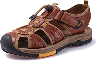 Men Genuine Leather Sandals Sneakers Outdoor Beach Shoes Native Rubber Sole