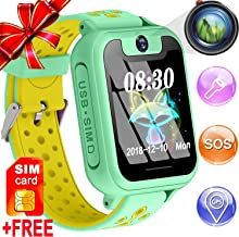 [Special Kids Version] GPS Tracker Smart Watch for Age 3+ Girl Boy Children,[Speed Talk SIM CARD] Touchscreen Phone Smart Watch with One Button SOS/Two Way Chat/Camera/Game Electronic Watch Toys Gift