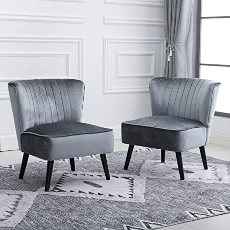10 Accent Living Room Comfy Tub Chairs Armless Recliner Leisure Chairs  Bedroom Occasional High Back Beside Sofa Chair with Velvet Upholstered  Padded