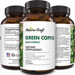 Green Coffee Bean Extract Capsules-Green Coffee Extract Natural Energy Pills for Fatigue Immune Support and Anti Aging Bra...