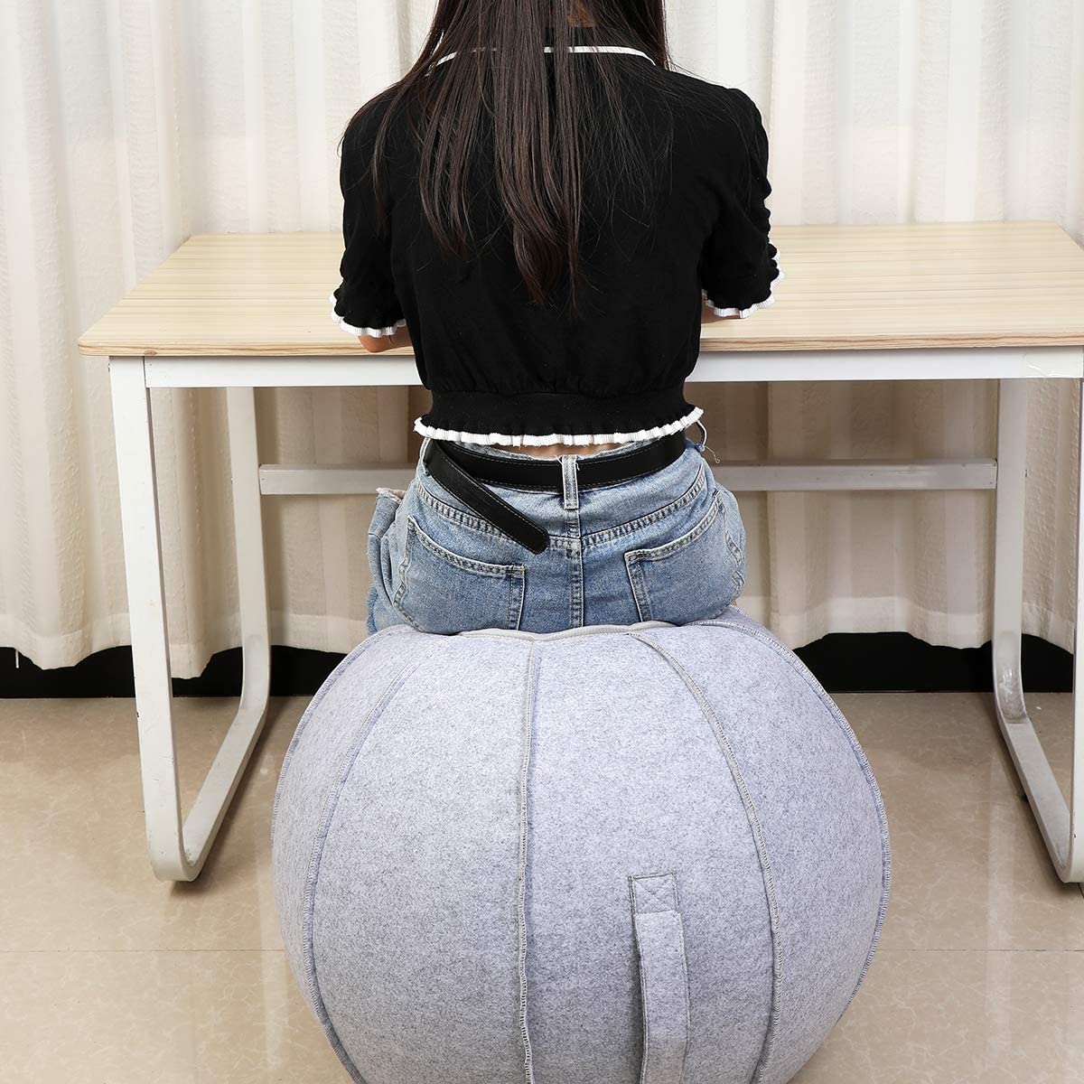 Pilates Exercise Yoga Ball with Cover Dorm and Home Lightweight Self-Standing Ergonomic Posture Activating Exercise Ball Solution with Handle and Pump XGYLVFEI 65cm Sitting Ball Chair for Office