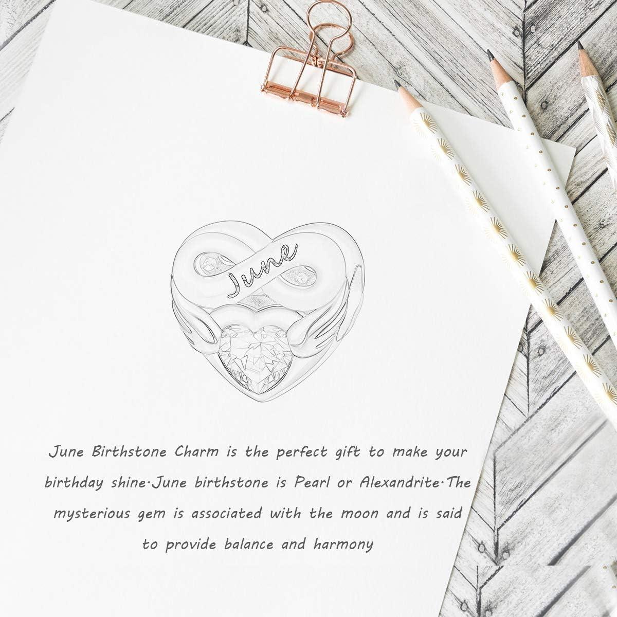 colgante de coraz/ón FOREVER QUEEN Abalorio de coraz/ón con piedra natal para mujer para pulsera plata de ley 925 regalo de cumplea/ños con caja de regalo
