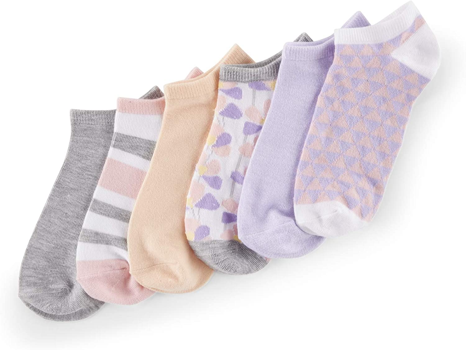No Nonsense Women's Color Expressions No Show Liner, 6 Pair Pack, Asst 3: White Multi, Peach Puff, White Multi, Light Heather Grey, Thistle Marl, Tutu Multi, One Size