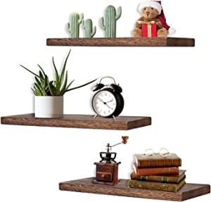 Floating Wood Shelves for Wall, Wall Mounted Display Ledge Storage Rack, Set of 3 Wall Shelves for Living Room, Bathroom, Bedroom, Office and Kitchen