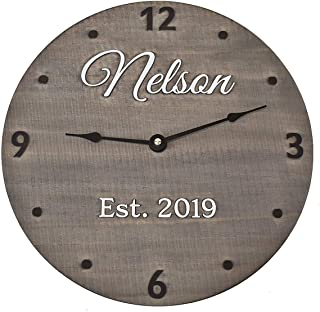 11 Inch Wooden Wall Clock Personalized with Last Name and Wedding Year - Handmade Anniversary Gift