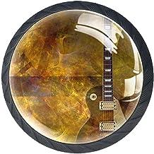 Ladeknoppen Ronde Crystal Glass Cabinet Handgrepen Pull 4 Pcs,Brandend op elektrische gitaar