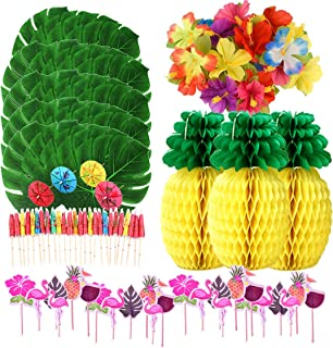 105 PCS Hawaiian Luau Jungle Party Decorations Tropical Party Theme Supplies Set Tropical Palm Leaves,Silk Hibiscus Flowers,Tissue Paper Pineapples,Paper Cocktail Umbrella,Cupcake Toppers (105 PCS)