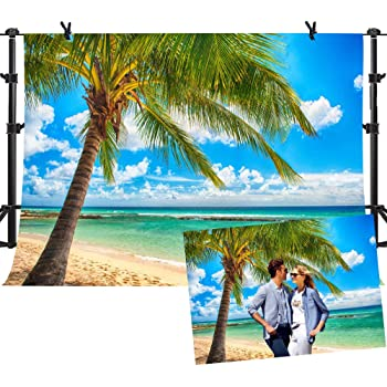 COMOPHOTO 10x7ft Polyester Beach Photography Backdrops Sea Blue Sky Background Palm Trees Summer Party Photo Background for Studio