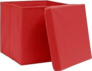 Tidyard Boîtes de Rangement avec Couvercles Panier de Rangement Pliable 4 pcs 28x28x28 cm Rouge