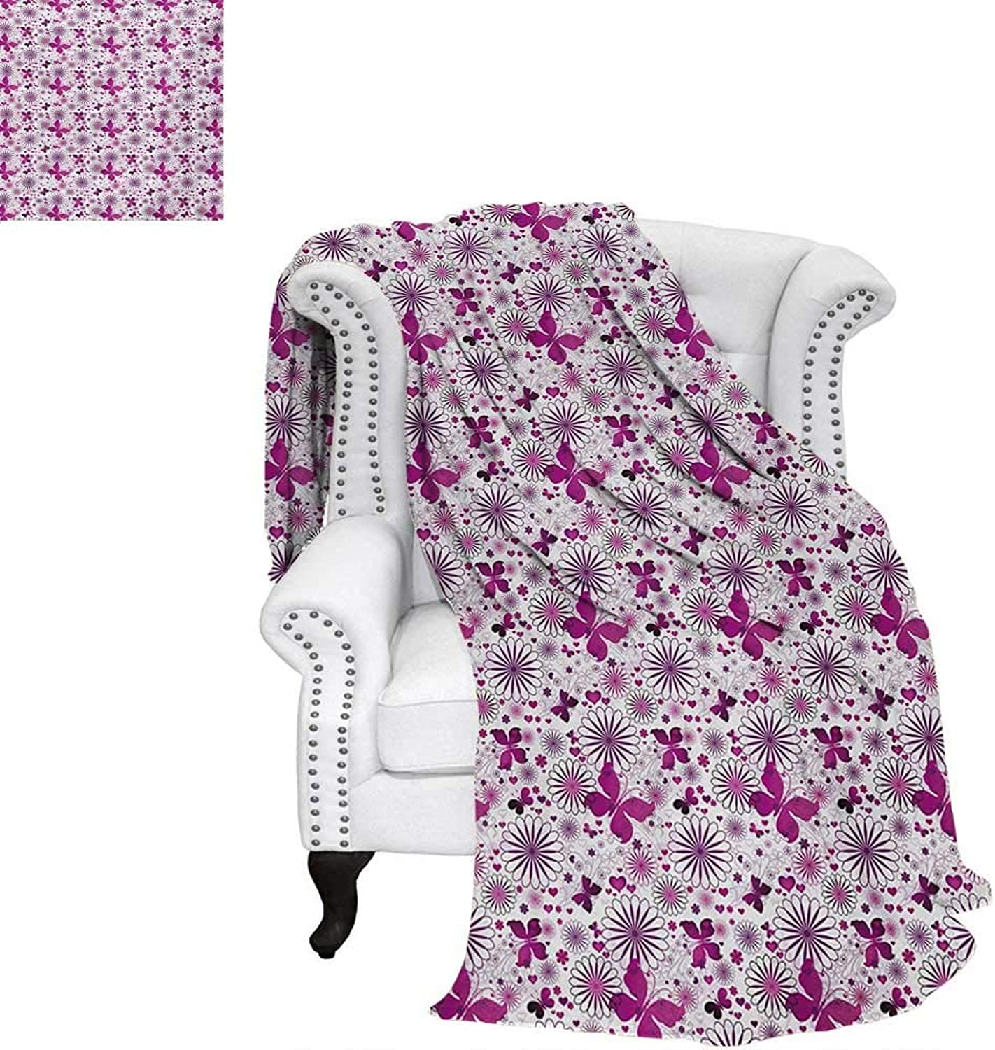 Warmfamily Purple Warm Microfiber All Season Blanket for Bed or Couch Amgoldus Butterflies Hearts and Flower Blooms Celebration of Valentines Day Throw Blanket 62 x60  Fushcia purple White