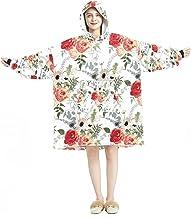 Deken Hoodie, Casual Zachte Microfiber Housecoat, Warm Nachthemd voor Mannen Vrouwen met Rood Roze Rose Bloemenpatroon Ont...