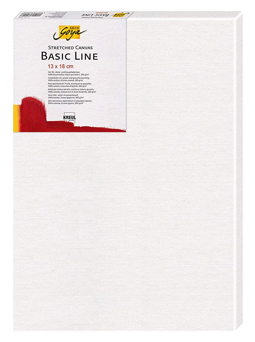 Solo Goya Stretched Canvas Basic Line Stretcher Frame with Cotton Canvas 4 Compartments Primed Ideal for Oil, Acrylic and Gouache Paints, Approx. 13 x 18 cm