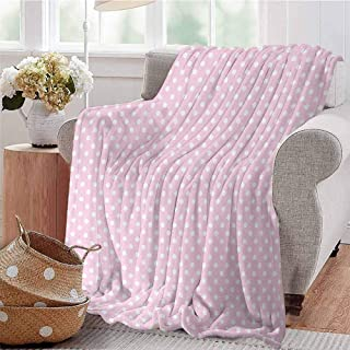 KFUTMD Soft Lightweight Blanket Tiny Little Retro Polka Dots Vintage Style Bridal Nursery Kids Room Pattern Pink White Sofa Camping Reading Car Travel W59 xL71