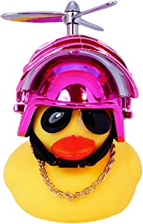 Rubber Duck Toy Car Ornaments Yellow Duck Car Dashboard Decorations with Propeller Helmet