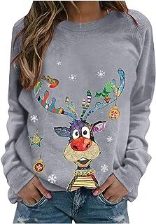 Dames Kerstmis pullover lange mouwen sweatshirts jumper, effen blouse ronde hals tops Kerstmis brief motieven prints