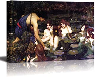 Hylas and The Nymphs (1896) by John William Waterhouse - Canvas Print Wall Art Famous Painting Reproduction - 24
