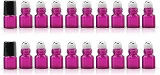 ZbFwmx 20 Pack Set 1ML Mini Red Sample Roll Glass Bottles for Essential Oils Roller Refillable Perfume Roll Bottle