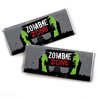 Big Dot of Happiness Zombie Zone - Candy Bar Wrapper Halloween or Birthday Zombie Crawl Party Favors - Set of 24