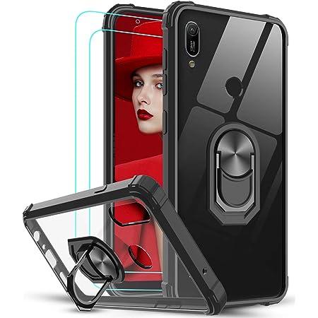 LeYi per Cover Huawei P20 Lite con Vetro Temperato [2 Pack],Trasparente Custodia Rigida Silicone con Anello Rinforzata Antiurto Bumper per Custodie ...