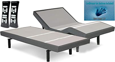 DynastyMattress S-Cape 2.0 Adjustable Beds Set Sleep System Leggett & Platt, with 10-Inch Cool Breeze Gel Memory Foam Mattress-Split King Size