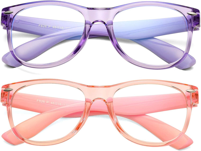 Braylenz 2 Pack Kids Blue Light Blocking Glasses Boys Girls, Anti Eye Strain & Headache, Unbreakable Frame, Age 3-12(Clear Purple+Clear Pink)