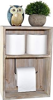 Spiretro Wall Mount Toilet Paper Holder, Decorative Tissue Paper Roll Dispenser Floating Shelf, Recessed Cubby Box Bracket...