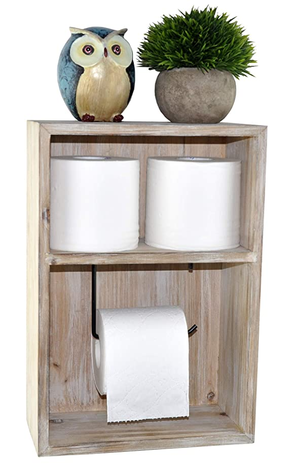 Spiretro Wall Mount Toilet Paper Holder, Decorative Tissue Paper Roll Dispenser Floating Shelf, Recessed Cubby Box Bracket Cabinet, Storage, Reserve, Organize for Bathroom, Rustic Torch Wood- Grey