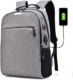 Travel Laptop Backpack, Anti Theft Slim Computer Bag with USB Charging Port, Fits 15.6 Inch Notebook, Gifts for College School Student Business Men Women, Gray