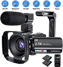 Video Camera Camcorder 2.7K Ultra HD YouTube Vlogging Camera 36MP IR Night Vision Digital..
